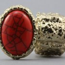 Arty Oval Ring Orange Coral Gold Chunky Knuckle Art Statement Avant Garde Stretch Size 7 - 8.5
