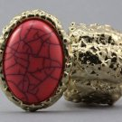 Arty Oval Ring Pink Coral Gold Chunky Knuckle Art Statement Stretch Size 7 - 8.5