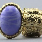 Arty Oval Ring Purple Swirl Gold Chunky Knuckle Art Statement Avant Garde Stretch Size 7 - 8.5