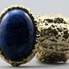 Arty Oval Ring Cosmic Blue Midnight Sky Gold Artsy Chunky Knuckle Art Statement Stretch Size 7 - 8.5