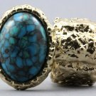 Arty Oval Ring Turquoise Gold Chunky Knuckle Art Statement Avant Garde Stretch Size 7 - 8.5