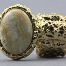 Arty Oval Ring Cream Gold Chunky Knuckle Art Statement Avant Garde Stretch Size 7 - 8.5