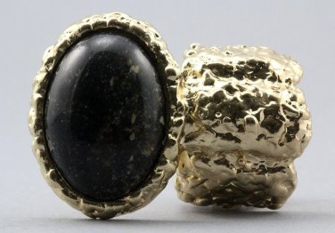 Arty Oval Ring Black Marble Gold Chunky Knuckle Art Statement Avant Garde Stretch Size 7 - 8.5