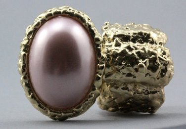 Arty Oval Ring Rose Pearl Gold Chunky Knuckle Art Statement Avant Garde Stretch Size 7 - 8.5