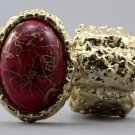 Arty Oval Ring Pink Drizzle Gold Chunky Knuckle Art Statement Avant Garde Stretch Size 7 - 8.5