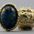 Arty Oval Ring Blue Drizzle Gold Chunky Knuckle Art Statement Avant Garde Stretch Size 7 - 8.5
