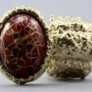Arty Oval Ring Red Drizzle Gold Chunky Knuckle Art Statement Stretch Size 7 - 8.5