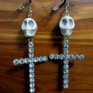 Day of the Dead Skull & Cross Earrings Ivory Carved Stone Gold Crystals Dia de Los Muertos Statement