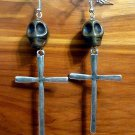 Day of the Dead Skull & Cross Earrings Brown Carved Stone Silver Dia de Los Muertos Statement