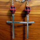 Day of the Dead Skull & Cross Earrings Red Carved Stone Silver Dia de Los Muertos Statement