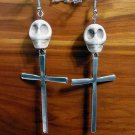 Day of the Dead Skull & Cross Earrings Ivory White Carved Stone Silver Dia de Los Muertos Statement