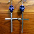 Day of the Dead Skull & Cross Earrings Purple Carved Stone Silver Dia de Los Muertos Statement