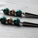 Day of the Dead Skull & Spike Earrings Carved Stone Silver Dia de Los Muertos Statement