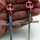 Day of the Dead Skull & Cross Earrings Pink Carved Stone Silver Dia de Los Muertos Statement