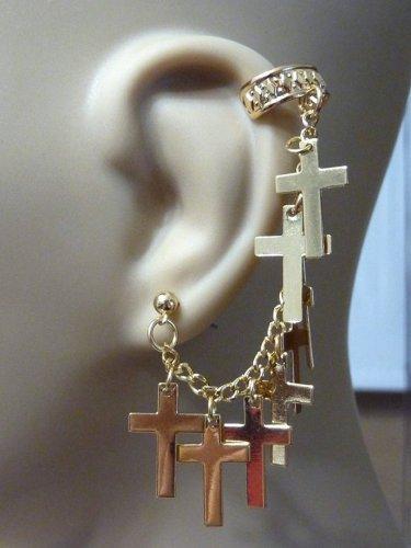 Cross Ear Cuff Rhinestone Chain Gold Charms Earring Bohemian Boho Hippie Gypsy