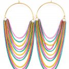 "Hoop Draping Chains Earrings 6"" Drop Statement Multi Celebrity Designer Basketball Wives Style"