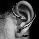 Snake Bite Ear Cuff Wrap Earring Antique Silver Armor Halloween Gothic Serpent Temptation Punk Goth