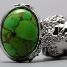 Arty Oval Ring Green Turquoise Neon Bronze Gemstone Silver Chunky Gem Knuckle Art Statement Size 8.5