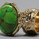 Arty Oval Ring Green Turquoise Neon Bronze Gemstone Gold Chunky Gem Knuckle Art Statement Size 4.5