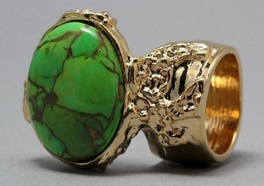 Arty Oval Ring Green Turquoise Neon Bronze Gemstone Gold Chunky Gem Knuckle Art Statement Size 5.5