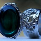 Arty Oval Ring Emerald Green Vintage Glass Silver Chunky Armor Knuckle Art Gift Statement Size 6