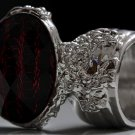 Arty Oval Ring Red Metallic Faceted Black Vintage Silver Chunky Knuckle Art Statement Size 8.5
