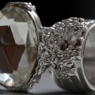 Arty Oval Ring Crystal Glass Faceted Czech Vintage Silver Chunky Knuckle Art Statement Size 8.5