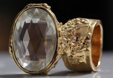 Arty Oval Ring Crystal Glass Faceted Czech Vintage Gold Chunky Knuckle Art Statement Size 4.5