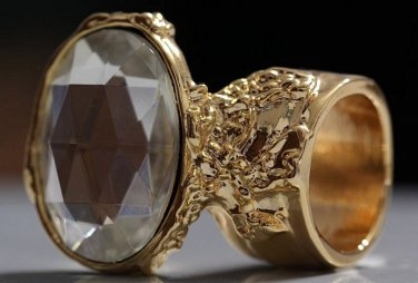 Arty Oval Ring Crystal Glass Faceted Czech Vintage Gold Chunky Knuckle Art Statement Size 8.5