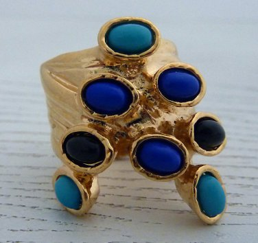 Arty Dots Ring Turquoise Royal Blue Black Gold Knuckle Art Chunky Jewelry Armor Statement Size 6