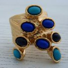 Arty Dots Ring Turquoise Royal Blue Black Gold Knuckle Art Chunky Jewelry Armor Statement Size 6.5
