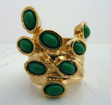 Arty Dots Ring Green Gold Knuckle Art Chunky Armor Statement Jewelry Avant Garde Fashion Size 6