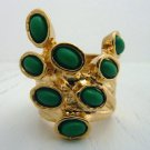 Arty Dots Ring Green Gold Knuckle Art Chunky Armor Statement Jewelry Avant Garde Fashion Size 6.5