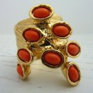 Arty Dots Ring Coral Gold Knuckle Art Chunky Armor Statement Jewelry Avant Garde Fashion Size 7
