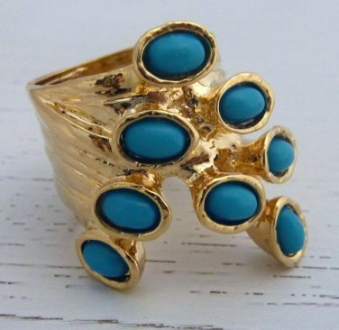 Arty Dots Ring Turquoise Gold Knuckle Art Chunky Armor Statement Jewelry Avant Garde Size 6.5