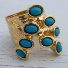 Arty Dots Ring Turquoise Gold Knuckle Art Chunky Armor Statement Jewelry Avant Garde Size 7