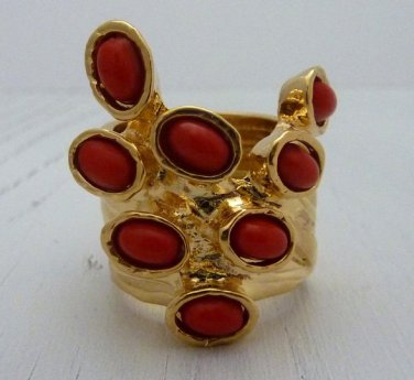 Arty Dots Ring Red Gold Knuckle Art Chunky Armor Statement Jewelry Avant Garde Fashion Size 7