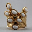 Arty Dots Ring White Faceted Gold Knuckle Art Chunky Statement Jewelry Avant Garde Fashion Size 7