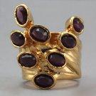 Arty Dots Ring Purple Vintage Glass Gold Knuckle Art Statement Jewelry Avant Garde Fashion Size 6
