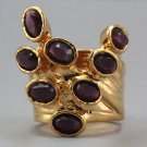 Arty Dots Ring Purple Vintage Glass Gold Knuckle Art Statement Jewelry Avant Garde Fashion Size 6.5