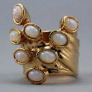 Arty Dots Ring Milky White Fire Opal Gold Knuckle Art Statement Jewelry Avant Garde Fashion Size 6.5