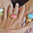 Arty Oval Ring Coral Pink Black Gold Knuckle Art Chunky Artsy Armor Avant Garde Statement Size 5.5