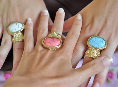 Arty Oval Ring Coral Pink Black Gold Knuckle Art Chunky Artsy Armor Avant Garde Statement Size 10