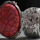 Arty Oval Ring Coral Pink Black Silver Knuckle Art Chunky Artsy Armor Avant Garde Statement Size 6