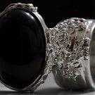 Arty Oval Ring Black Matte Silver Knuckle Art Chunky Artsy Armor Avant Garde Statement Size 10