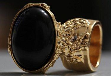 Arty Oval Ring Black Matte Gold Knuckle Art Chunky Artsy Armor Avant Garde Statement Size 6