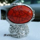Arty Oval Ring Coral Orange Black Silver Knuckle Art Chunky Armor Avant Garde Statement Size 8.5