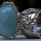 Arty Oval Ring Blue Gold Flecks Chunky Silver Knuckle Art Statement Jewelry Avant Garde Size 6