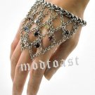 Hand Chain Ring Combo Crystals Body Jewelry Slave Bracelet Webbed Antique Silver Handchain Statement