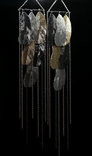 Feather Earrings 12.5 Inch Drop Silver Gold Black Seed Beads Chain Metal Jewelry Oversized Statement